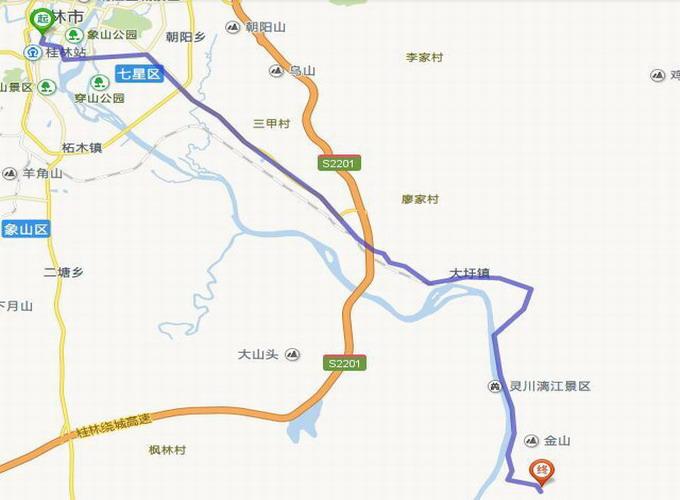 桂林去古东瀑布地图